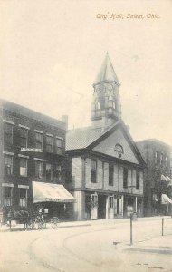 City Hall, Salem, Ohio Street Scene ca 1910s Vintage Postcard