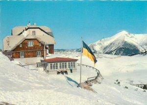 Austria ottohaus mountain view snow winter chalet Postcard