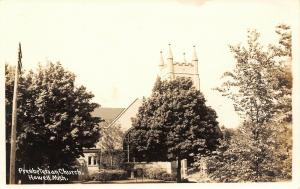 Howell MI~Presbyterian Church Hiding Behind Big Shade Trees~Sign~RPPC 1940s PC