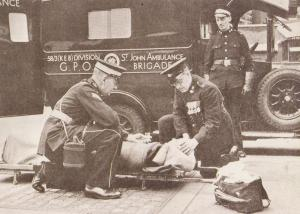 St Johns Ambulance Brigade in 1930s Stretcher KEB Division Royal Mail Postcard