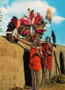 Masai Maiden Women Dancers Spear Weapons Fashion Rare Africa African Postcard