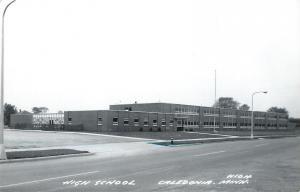 Caledonia Minnesota~Parking Lot of High School 1960s Real Photo Postcard~RPPC
