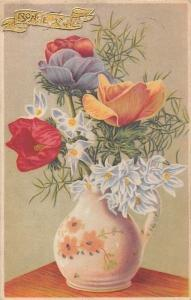Bonne Annee! Happy New Year! Tulips, Flowers, Vase 1947