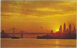 Vintage Postcard, Sunset Over New York City