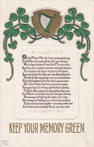 SAINT-PATRICK´S DAY; Keep Your Memory Green, Poem, 1900-1910's