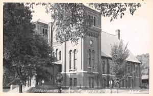 Fairfield Iowa~Presbyterian Church~Arterial Highway Stop Sign~1950s RPPC