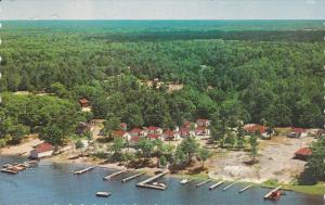 HONEY HARBOUR, Ontario, Canada; Aerial View of Hall's Cottages on Beautiful G...