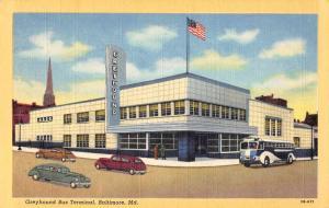 Baltimore Maryland Greyhound Bus Terminal Linen Antique Postcard J45591