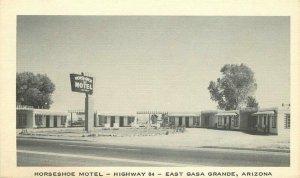 Horseshoe Motel roadside Casa Grande Arizona 1950s Postcard National 10805