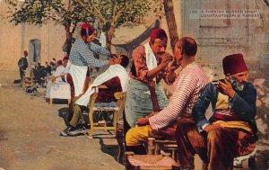 Turkish Barber Shop, Constantinople, Turkey, Early Postcard, Unused