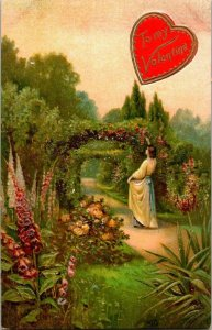 VTG Postcard Valentine Garden Arch Flowers California Germany Embossed  1205