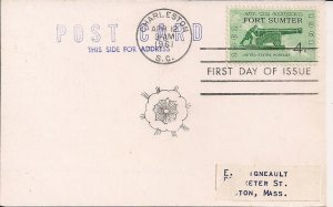 Charleston SC, Civil War Centenntial, 1961 Commemorative Stamp & Postmark, Ship