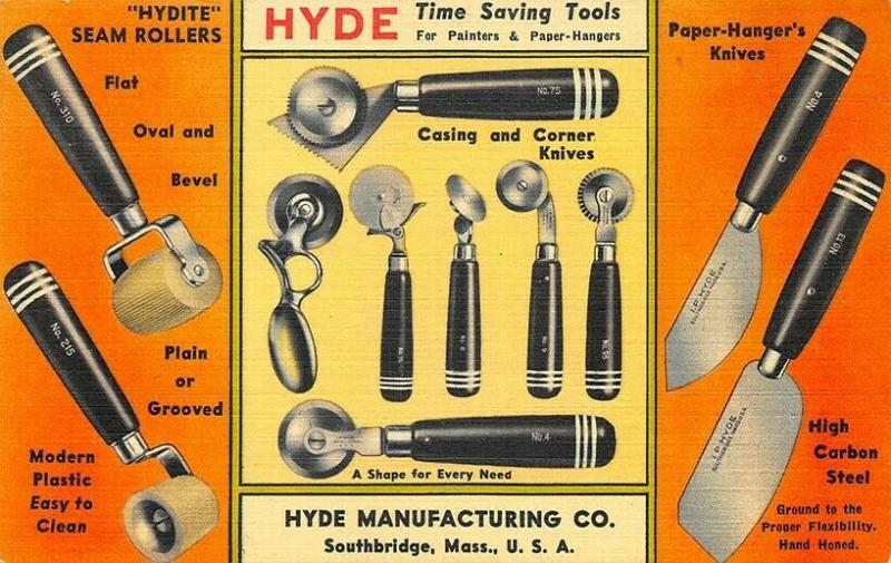 South Bridge MA Hyde Trimmers Putty Knives ETC. Advertising Linen Postcard