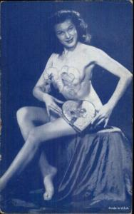 Sexy Burlesque Showgirl Semi-Nude 1920s-30s Arcade Exhibit Card Blue Tint #3