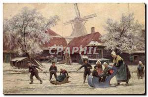 Postcard Old Windmill Luge