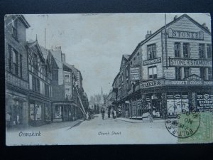 Shropshire ORMSKIRK Church Street showing STONER'S Shop c1906 Postcard by Wrench