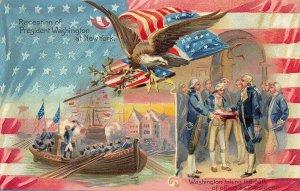 Reception of George Washington at New York Raphael Tuck #12 Embossed Postcard