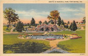 Fort Wayne Indiana 1940s Postcard Grotto in Memorial Park