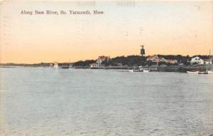 26064 MA, So. Yarmouth, 1910, Along Bass River, view of harbor wih boats, doc...