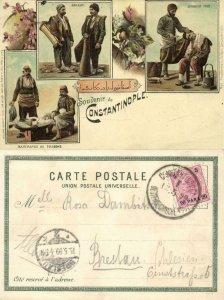 turkey, CONSTANTINOPLE, Sakkas, Turkish Barber, Fish Merchants (1899) Postcard