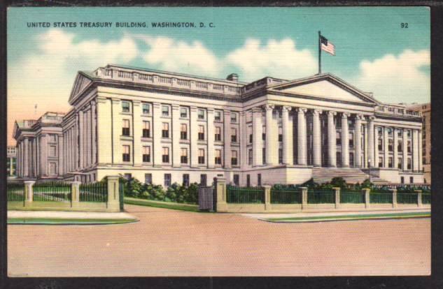 US Treasury Building Washington DC Postcard 5993