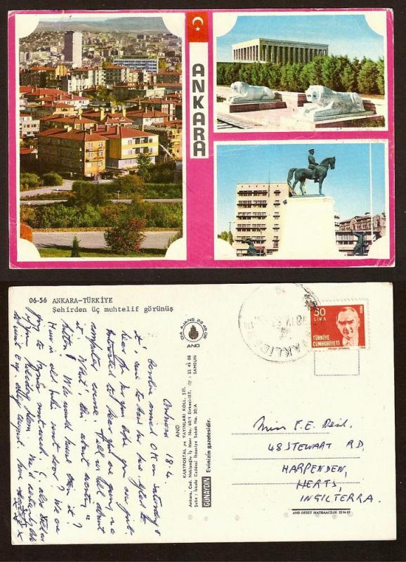 TURKEY VINTAGE POSTCARD/STAMP ANKARA