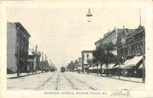 Beaver Falls Pennsylvania Seventh Avenue Historic Bldgs Antique Postcard K99626