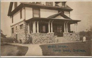 South Bend Indiana~Model House~2 1/2 Story~Dormer Windows~Stone Facade~1907 RPPC