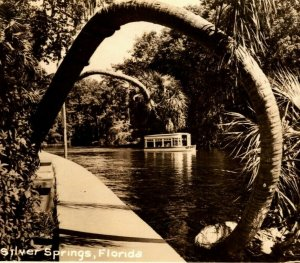RPPC Silver Springs Florida FL Bent Palms Canal Boats Postcard 1950