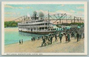 Clinton Iowa~Riverboat Landing~Mississippi River~Bridge~Bicycle~Onlookers~c1920