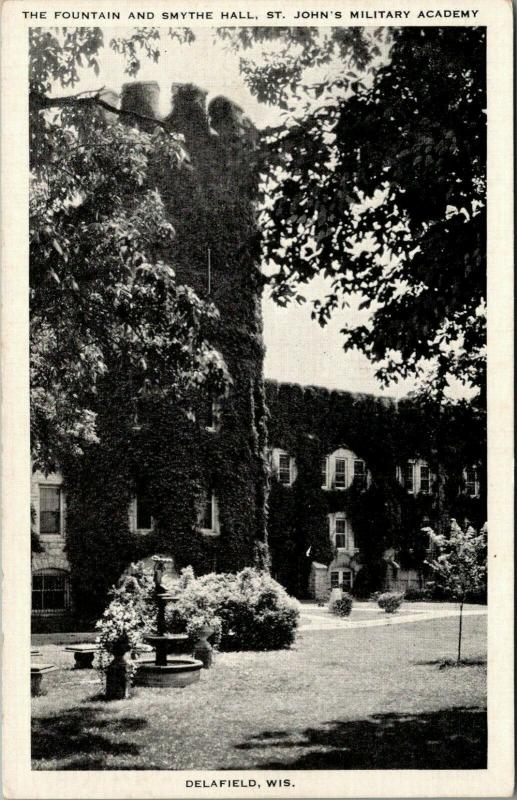 Delafield WI~Fountain~Ivy-Smothered Smythe Hall~St John's Military Academy 1940s