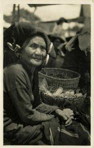 indonesia, SUMATRA, Native Batak Woman at Market (1937) RPPC Postcard