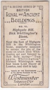 Cigarette Card  Westminster : British Royal & Ancient Buildings No. 10 Highgate