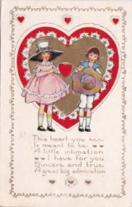 Valentine's Day Young Children With Red Heart 1910