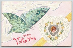 Valentine~Teal Green Butterfly~Heart Girl~Lace Doily~Silver Filigree~Emboss~NASH