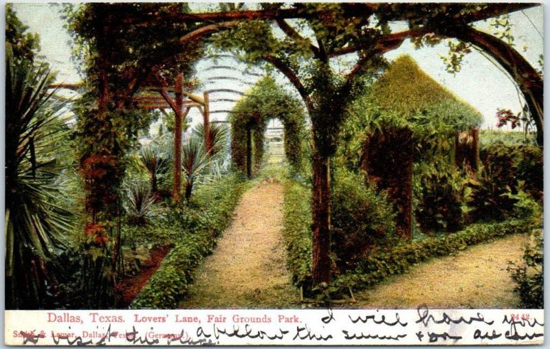 Dallas, Texas Postcard Lovers' Lane, Fair Grounds Park PCK w/ 1910 Cancel
