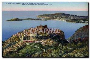 Old Postcard Eze Village View and Cap Ferrat