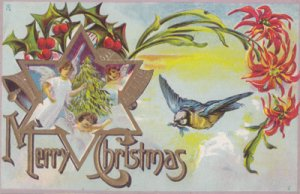 MERRY CHRISTMAS...View shows angels, Holly, and a bird, 1900s
