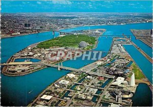 Modern Postcard Montreal Quebec Aerial view of Ile Ste Helene and I a part of...