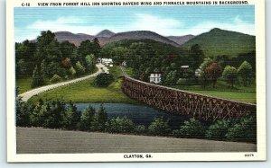 Postcard GA Clayton Forest Hill Inn Ravens Wing Pinnacle Mts Vintage Linen R18