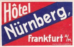 Germany Frankfurt Hotel Nuernberg Vintage Luggage Label sk3871