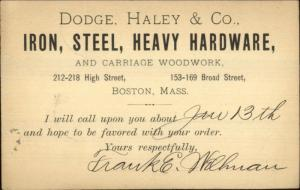 Boston MA Dodge Haley Co Iron Steel Hardware 1898 Postal Card
