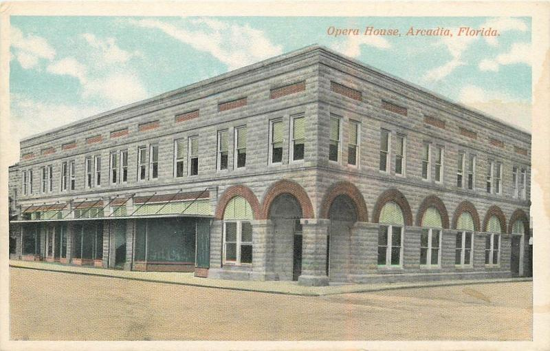 Opera House, Arcadia, FL White Border Postcard