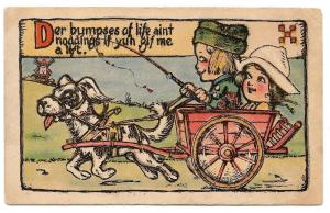 Dutch Kids Boy Driving Girl in Dog Cart Der Bumpses of Life