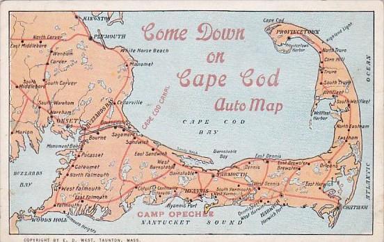 Come Down Map Of Cape Cod Massachusetts / HipPostcard