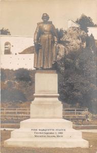 E32/ Mackinac Island Michigan Mi Photo RPPC Postcard 1908 Pere Marquette Statue