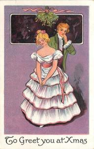 Christmas~Victorian Couple Under Mistletoe~Both Shy~Off Shoulder Gown~1905 IAPC