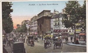 PARIS, La Porte Saint-Martin, Horse-drawn carriages, Busy Commercial Street, ...