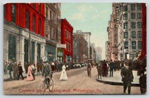 Philadelphia PA~Chestnut Street Bicycle Messenger~Caldwell Co~Hoskins~Rent~c1910