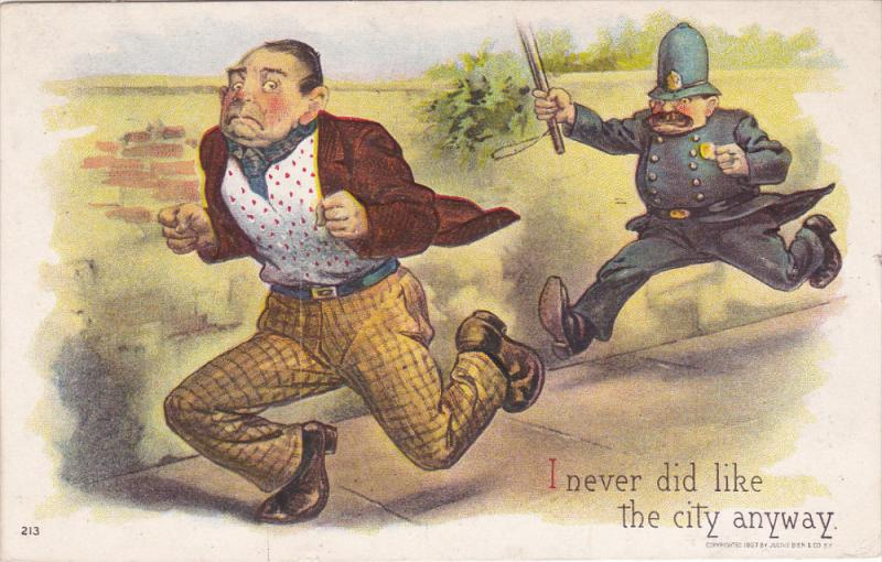 Man runs from Policeman , I never did like the city anyway , 1909